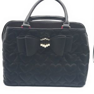 NWT Betsey Johnson Black Quilted Satchel Large Bow